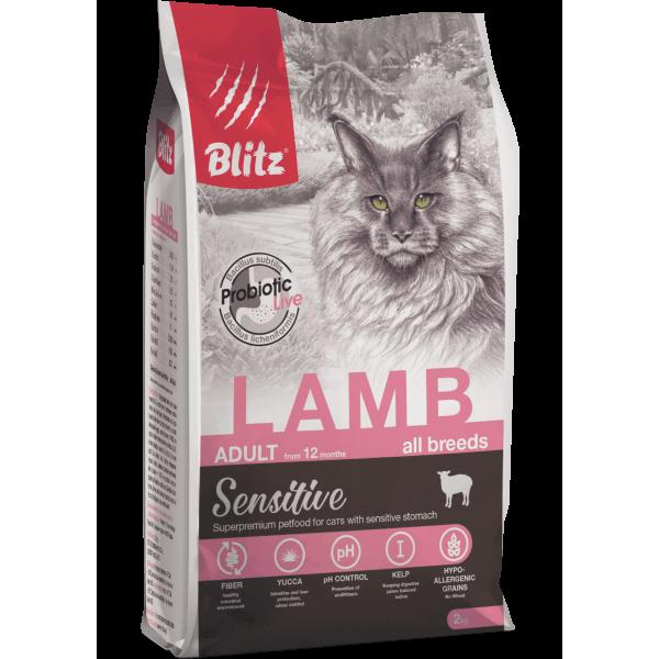 Blitz Sensitive «Ягнёнок» сухой корм для взрослых кошек