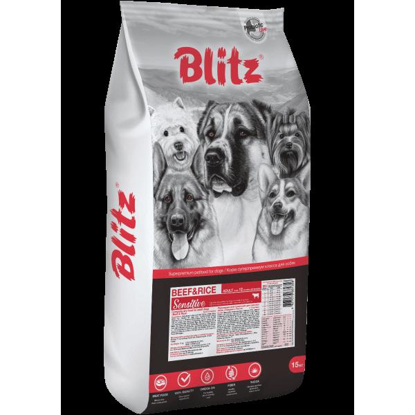 Blitz Sensitive с говядиной и рисом сухой корм для взрослых собак всех пород 15кг