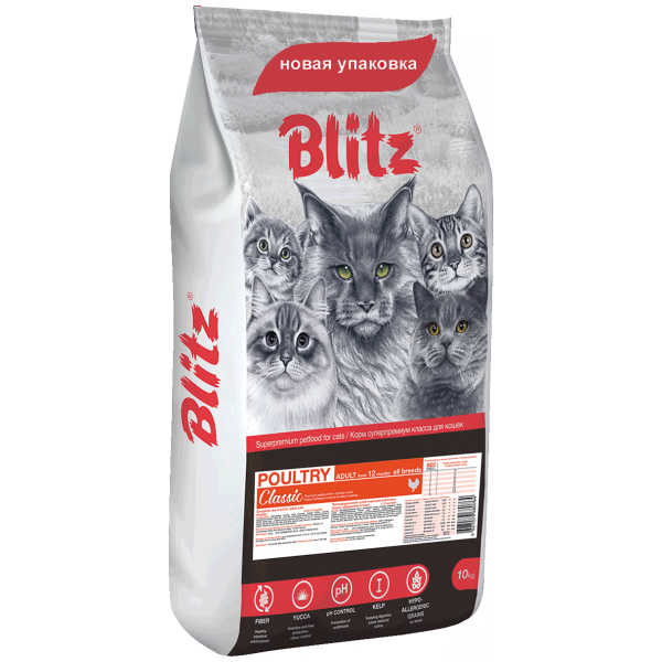 Blitz Adult Cat Poultry сухой корм для взрослых кошек «Домашняя птица»